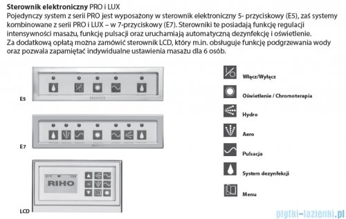 Riho Lugo wanna prostokątna 200x90 z hydromasażem PRO Hydro 6+4+2 BT06P6