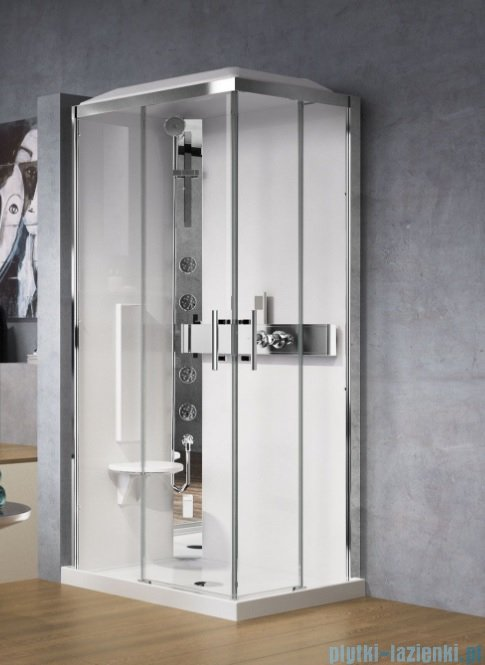 Novellini Glax 3 kabina z hydromasażem 100x80 lewa srebrny GL3A109SM1F-1B