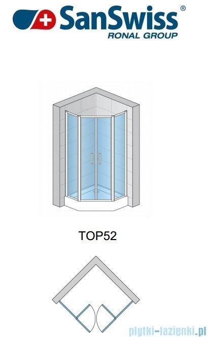 SanSwiss Top-Line Pięciokątna kabina prysznicowa TOP52 z drzwiami otwieranymi 100x100cm Master Carre/Srebrny mat TOP5271000130