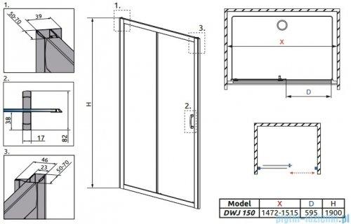Radaway Premium Plus Dwj drzwi wnękowe 150cm szkło fabric 33343-01-06N