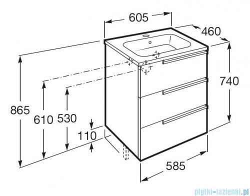 Roca Victoria-N Family Unik zestaw szafka z umywalką 60x46x74 antracyt połysk A855839153