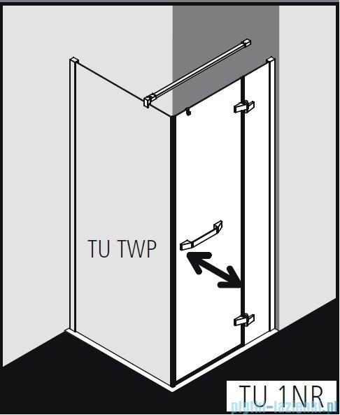 Kermi Tusca Drzwi wahadłowe 1 skrzydłowe z polem stałym prawe, szkło przezroczyste 90 cm TU1NR09020VPK