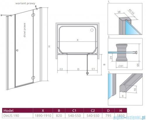 Radaway Torrenta Dwjs drzwi wnękowe 190 prawe szkło przejrzyste 320812-01-01R/320493-01-01