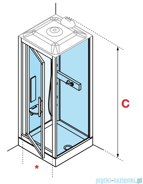 Novellini Glax 3 GF90 kabina masażowo-parowa 90x90 chrom GL3GF90M1N-1K