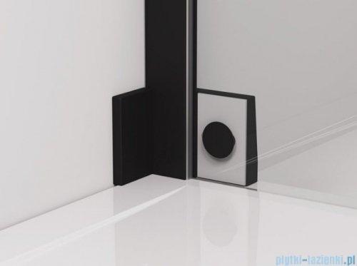 SanSwiss Cadura Black Line drzwi wahadłowe 80cm jednoczęściowe lewe z polem stałym czarny mat CA31CG0800607