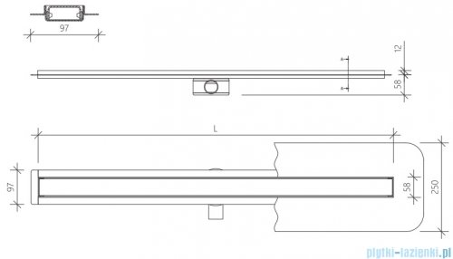 Wiper Premium Slim Sirocco odpływ liniowy 120 cm z kołnierzem RYSUNEK TECHNICZNY