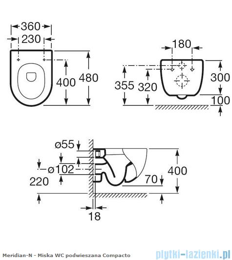 Roca Meridian-N Compacto Miska wc podwieszana A346248000
