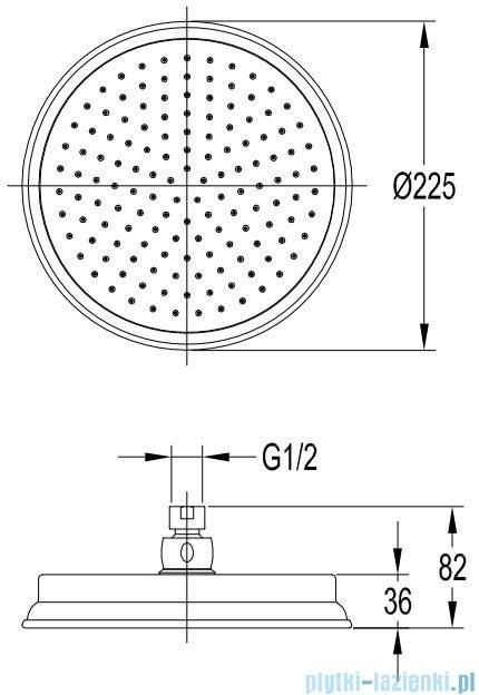 Omnires Armance deszczownica 1-funkcyjna 22x22cm miedź antyczna WGARMANCEORB