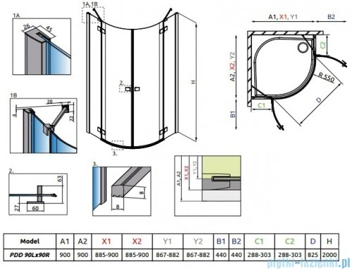 Radaway Essenza New Pdd kabina 90x90cm szkło przejrzyste + brodzik Delos A + syfon