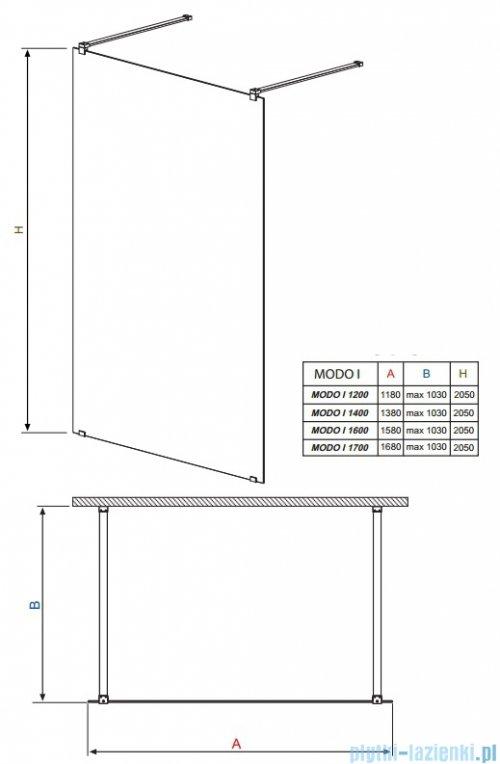 Modo I Radaway kabina Walk-in 160x205 przejrzyste 351164-01-01N