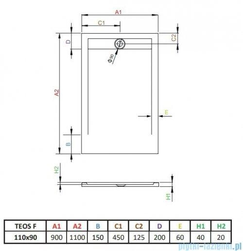 Radaway Teos F brodzik 110x90cm antracyt HTF11090-64