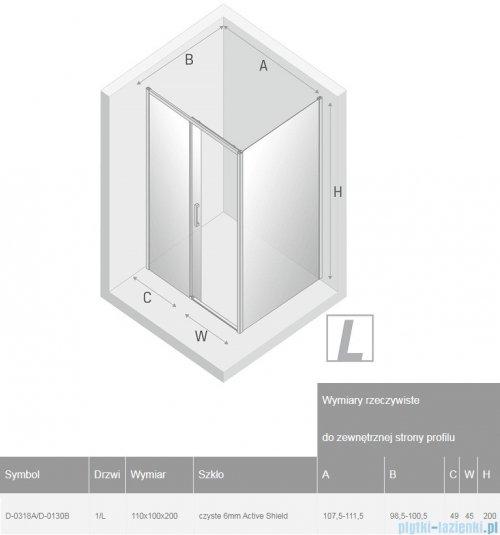 New Trendy Prime Black kabina prostokątna 110x100x200 cm lewa przejrzyste D-0318A/D-0130B