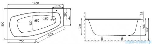 Polimat Marika wanna asymetryczna 140x80 cm lewa + obudowa + syfon 00682/00684/19975