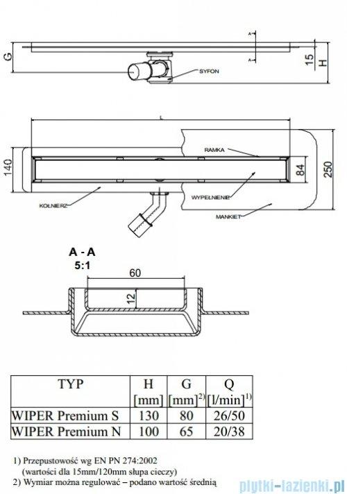Wiper Odpływ liniowy Premium Sirocco 70cm z kołnierzem poler S700PPS100