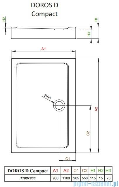 Radaway Doros D Compact brodzik prostokątny 110x90x11,5cm SDRD1190-05