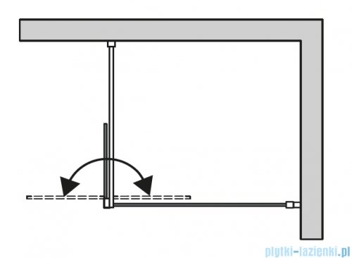 SanSwiss Cadura Black Line kabina Walk in 120cm lewa ze ścianką ruchomą profile czarny mat CADUOG1200607