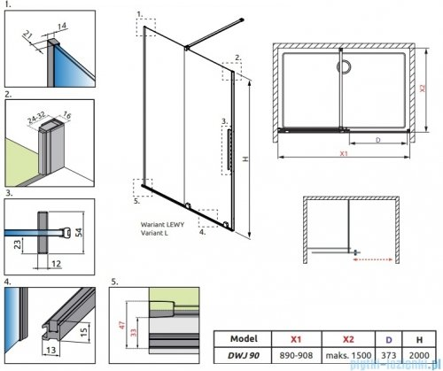 Radaway Furo Gold DWJ drzwi prysznicowe 90cm lewe szkło przejrzyste 10107472-09-01L/10110430-01-01