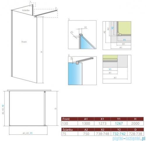 Radaway Modo New IV kabina Walk-in 130x75 szkło przejrzyste 389634-01-01/389075-01-01