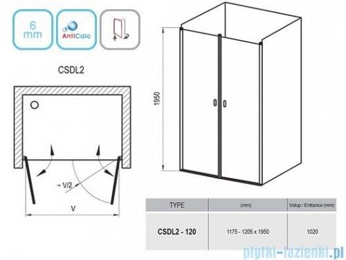 Ravak Chrome CSDL2 drzwi prysznicowe 120cm białe transparent 0QVGC10LZ1