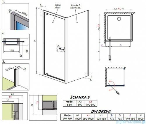 Radaway Twist DW+S Kabina prysznicowa 100x80 szkło przejrzyste 382003-01/382011-01