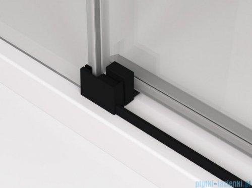 SanSwiss Cadura Black Line drzwi przesuwne 100cm jednoskrzydłowe prawe z polem stałym profile czarny mat CAS2D1000607