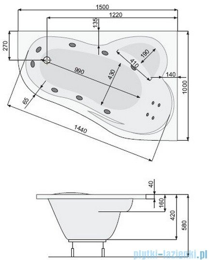 Poolspa Wanna asymetryczna LEDA 150x100 prawa + hydromasaż Smart 1 PHAE410ST1C0000