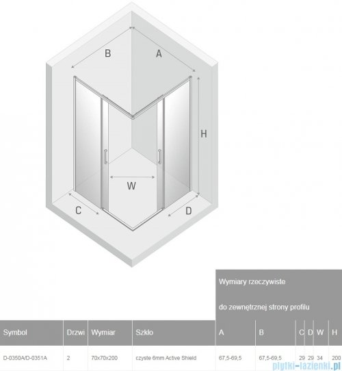 New Trendy Prime Black kabina kwadratowa 70x70x200 cm przejrzyste D-0350A/D-0351A