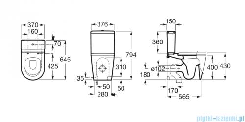 Roca Inspira Zbiornik 4,5/3L do kompaktu WC A341520000