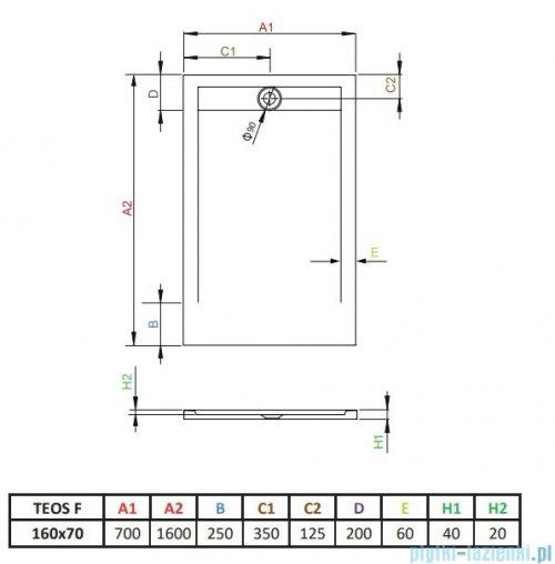 Radaway Teos F brodzik 160x70cm biały HTF16070-04