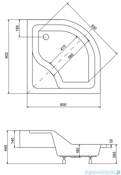 Piramida Oliver Brodzik 90x90x15/25cm półokrągły z podwyższonym siedziskiem #BAO-90-NR