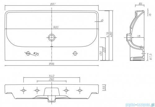 Koło Traffic umywalka meblowa 90cm z dwoma otworami przelewem i powłoką Reflex L91590900