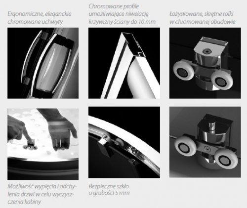 Radaway Premium Plus DWJ+2S kabina przyścienna 75x130x75cm szkło przejrzyste