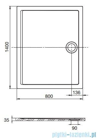 Roca Aeron brodzik prostokątny 140x80x3,5cm szary cement + syfon A276286300