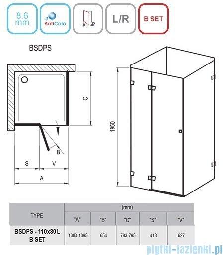 Ravak Brilliant BSDPS kabina prostokątna 110x80cm lewa transparent 0ULD4A00Z1