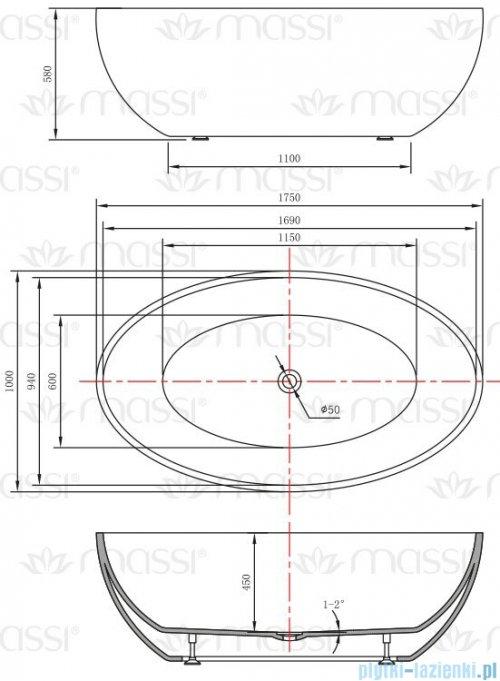 Massi Wide 175 wanna wolnostojąca 175x100cm biała + syfon MSWA-6834