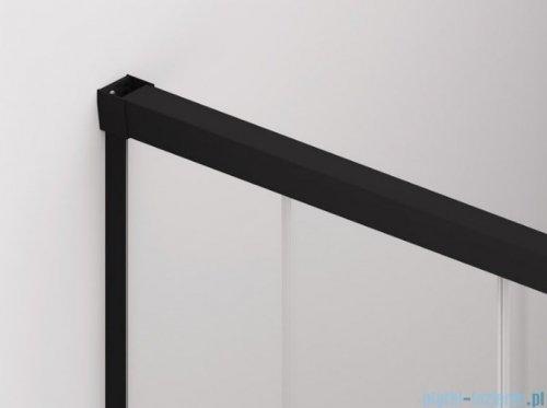 SanSwiss Cadura Black Line drzwi przesuwne 75cm jednoskrzydłowe lewe z polem stałym profile czarny mat CAE2G0750607