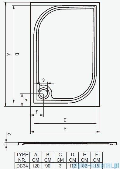 Riho Brodzik prostokątny Kolping 120x90x3 + nogi + syfon DB34