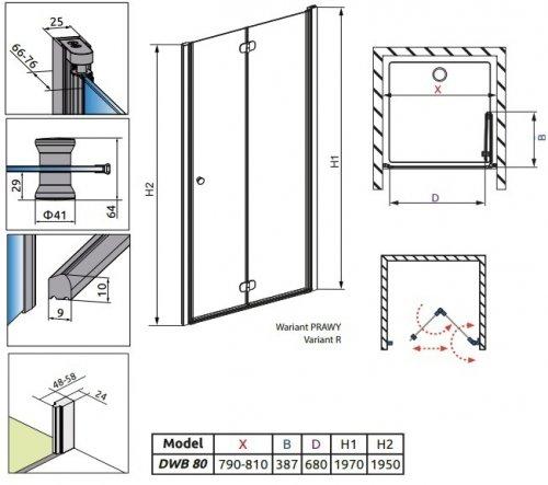 Radaway Eos DWB Drzwi wnękowe 80 prawe szkło przejrzyste rysunek technicznny