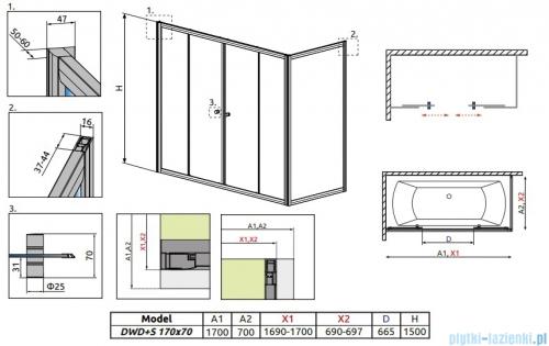 Radaway Vesta DWD+S Parawan nawannowy 170x70cm szkło przejrzyste 203170-01/204070-01