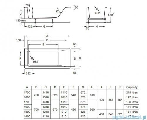 Roca Easy wanna prostokątna 170x75 cm akrylowa rysunek techniczny