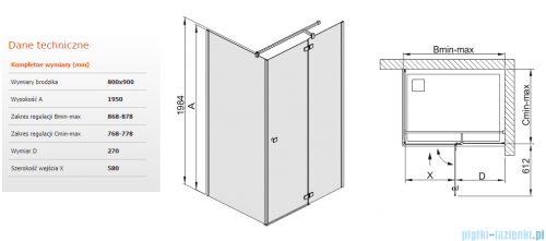 Sanplast kabina narożna prostokątna KNDJ2/FREE-80x90 80x90x195 cm przejrzyste 600-260-0640-42-401