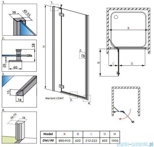 Radaway Almatea DWJ Drzwi wnękowe 90 Lewe szkło brązowe 31002-01-08N