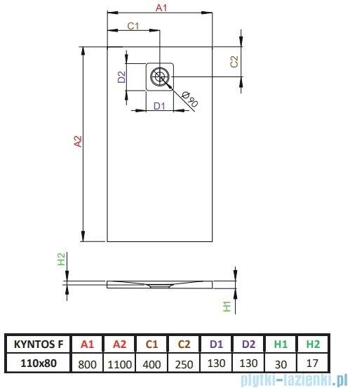 Radaway Kyntos F brodzik 110x80cm biały rysunek techniczny