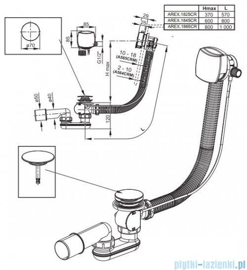 Excellent Square syfon odpływowo-przelewowy z napełnieniem automatycznym 80 cm chrom AREX.1845CR