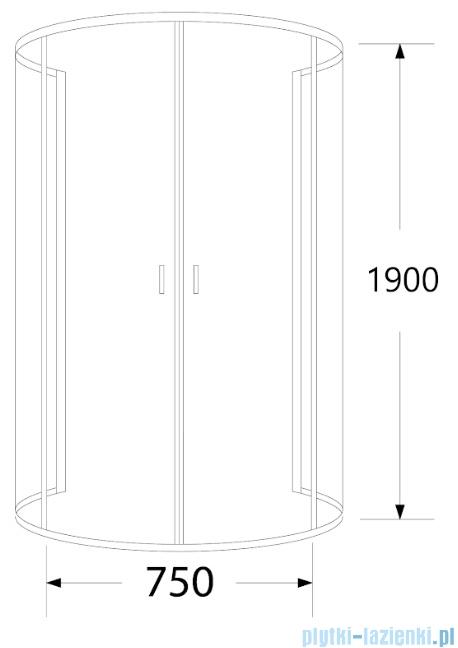 Sea Horse Stylio kabina przyścienna 80x100x190 cm grafit BK501XG+