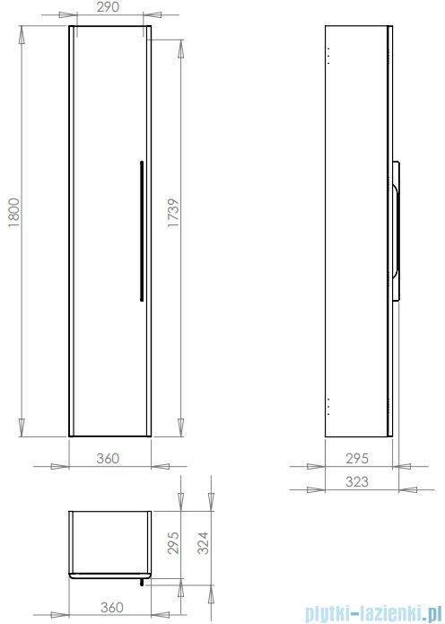 Koło Traffic szafka boczna 36x180x29,5cm wisząca platynowy połysk 88420