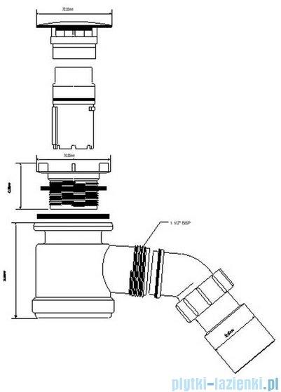 McAlpine Syfon brodzikowy 50'' pokrywa kolorze stal szczotkowana HC26-SN