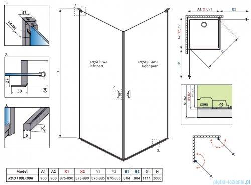 Radaway Nes Black Kdd I Frame kabina 90x90cm rysunek techniczny