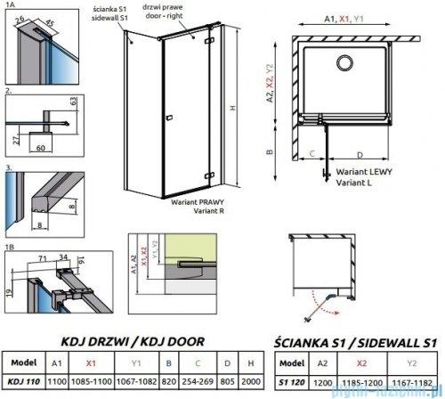 Radaway Essenza New Kdj kabina 110x120cm prawa szkło przejrzyste rysunek techniczny