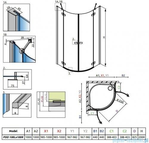 Radaway Fuenta New Pdd kabina 100x100cm szkło przejrzyste + brodzik Delos A + syfon